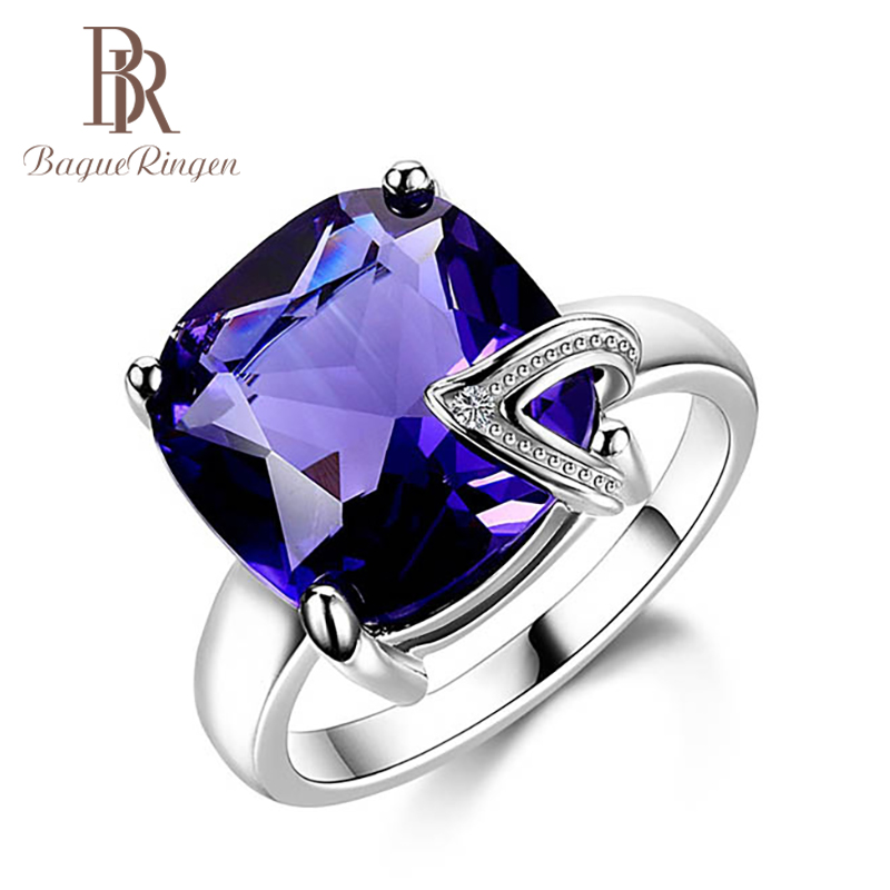 Bague Ringen Silver 925 Fine Jewelry With Gemstones Purple Ring For Women Simple Geometry Amethyst Size6,7,8,9,10 Female Gift