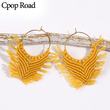 Cpop Fashion Personality Boho Handmade  Macrame Earrings Elegant Circle Gold Tassel Women Jewelry Accessories Hot Gift