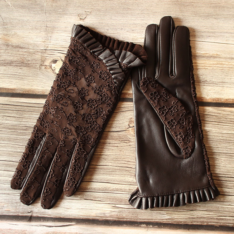 Summer Driving Sheepskin Gloves Female Touch Screen Leather Gloves Single Layer Unlined Thin Fashion Stretch Lace Style
