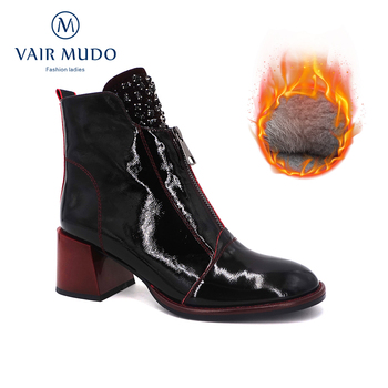Winter Women Ankle Boot Warm Wool High Quality Black Thick Heel Patent Leather Fashion Elegant Shoes Ladies Boots Footwear DX125 women autumn winter fashion pu ankle martin flat boots waterproof lace shoes patent leather block thick high heel