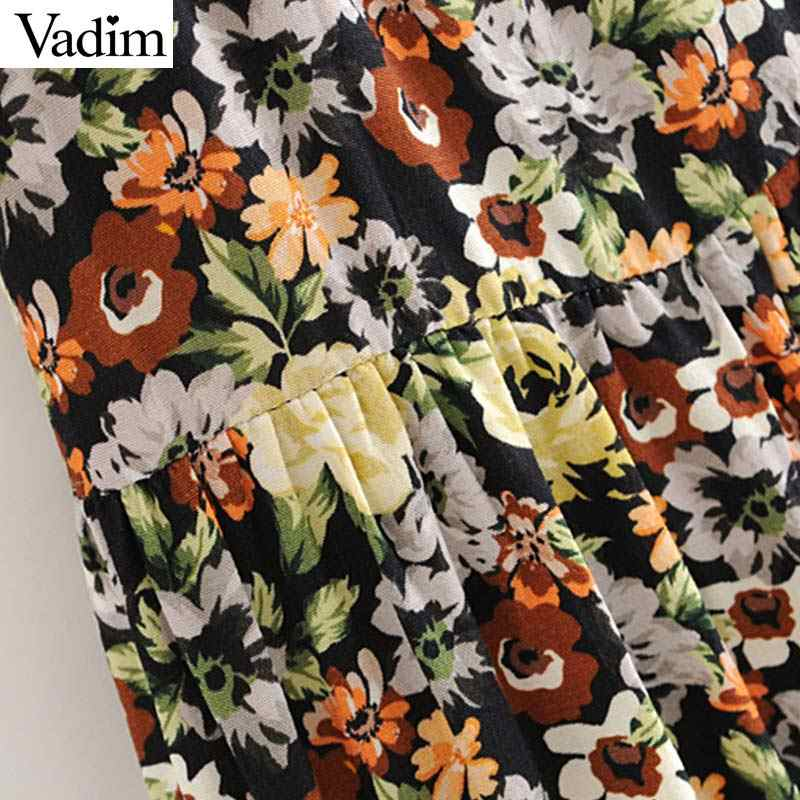 Vadim נשים בציר פרחוני הדפסת מיני שמלת V צוואר כבוי כתף קצר שרוול נשי מזדמן שיק שמלות vestidos QC625
