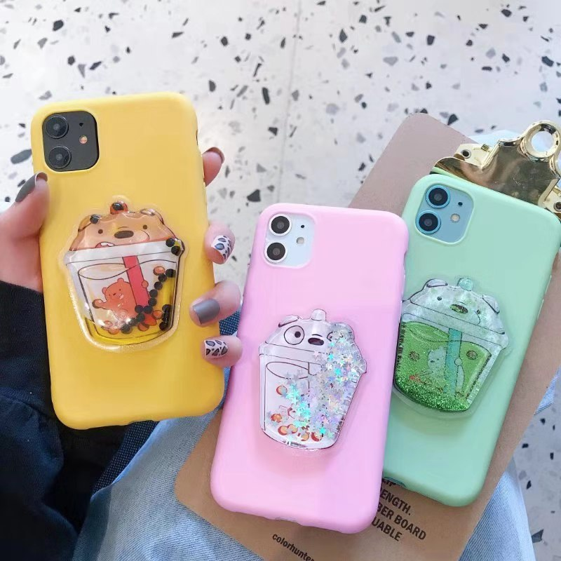3D Cartoon Liquid Bear Milk Tea Phone <font><b>Case</b></font> for <font><b>OPPO</b></font> A3 A3S A5 A5S A7 A9 2020 <font><b>A39</b></font> A57 A59 A73 A79 A83 F1S F5 F9 F11 Pro R9s Reno image