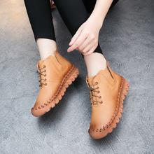 Новинка женская обувь на осень и зиму ручной работы мягкой плоской