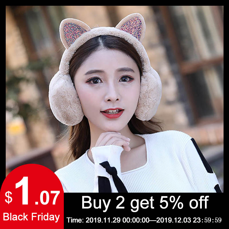 Calymel Winter Autumn Warm Faux Fur Earmuffs Cute Cat Ear Earflap Plush Earmuff For Ladies Women Hairbands Rhinestone Ear Muffs