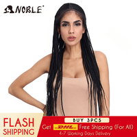 Noble Synthetic Braided Lace Front Wigs For Black Women 1b Heat Resistant 34 Inch Hair Braid Wigs Premium Braided Box Braids Wig