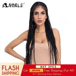 Pelucas frontales de encaje sintético trenzado Noble para mujeres negras 1b resistente al calor pelucas trenzadas de pelo de 34 pulgadas caja trenzada Premium peluca con trenzas