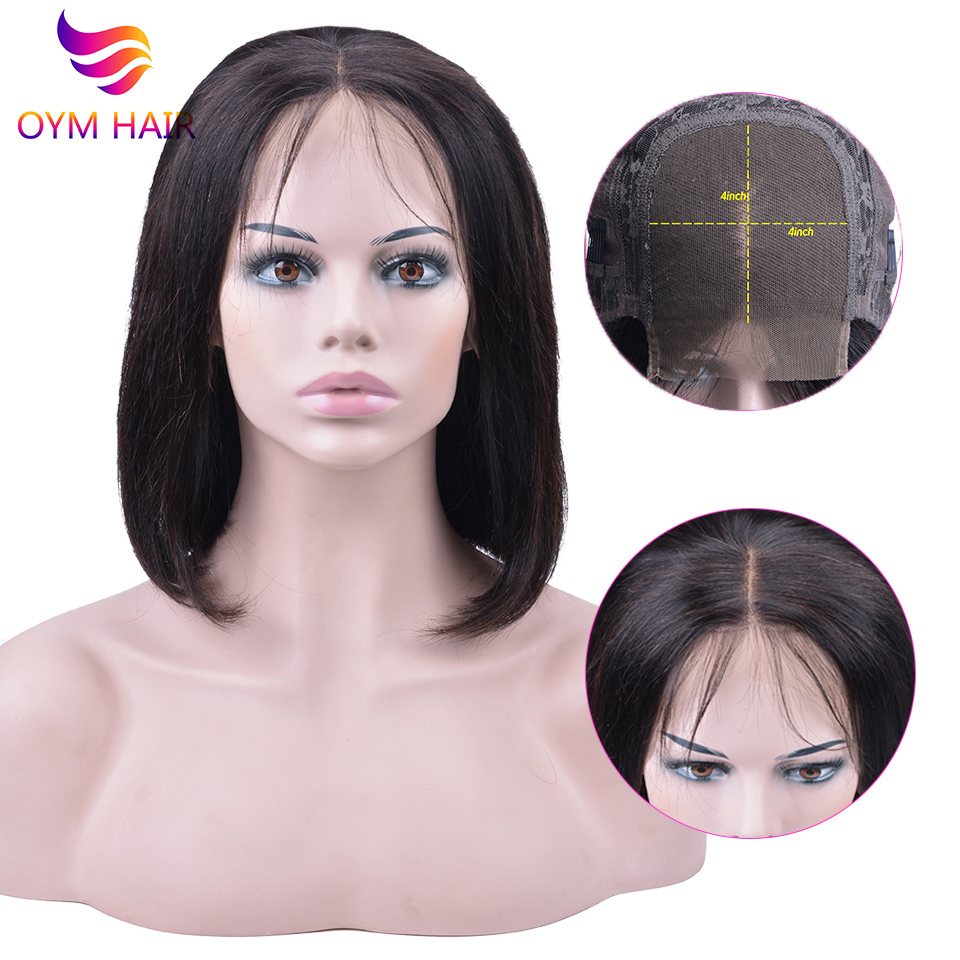4x4 Short Lace Closure Human Hair Wigs For Women OYM Brazilian Straight Remy Bob Wig Lace Closure Wig pre plucked Baby Hair