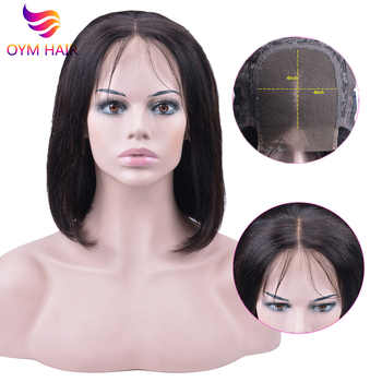 4x4 Short Lace Closure Human Hair Wigs For Women OYM Brazilian Straight Remy Bob Wig Lace Closure Wig pre plucked Baby Hair - DISCOUNT ITEM  25% OFF All Category