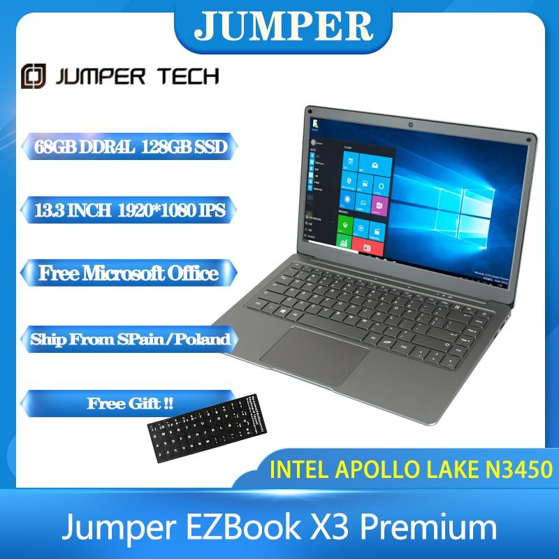 Джемпер EZbook X3 ноутбук премиум-класса IPS Дисплей тонкий металлический корпус для ноутбука Intel N3450 8 Гб 128 Гб памяти на носителе eMMC 2,4 г/5G Wi-Fi Win10 13,...