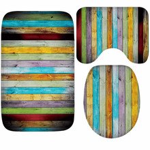 Tablero de madera Vintage juego de alfombra para baño de 3 piezas suave espesamiento alfombra de baño y baño antideslizante alfombra de baño absorbente de agua alfombra de baño