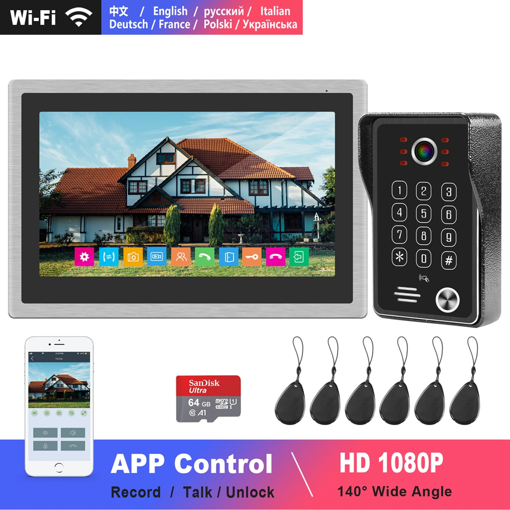 Dragonsview Wifi Video Intercom IP Wireless Video Door Phone For Home HD 1080P Doorbell 10 Inch Touch Screen Smart Phone Control