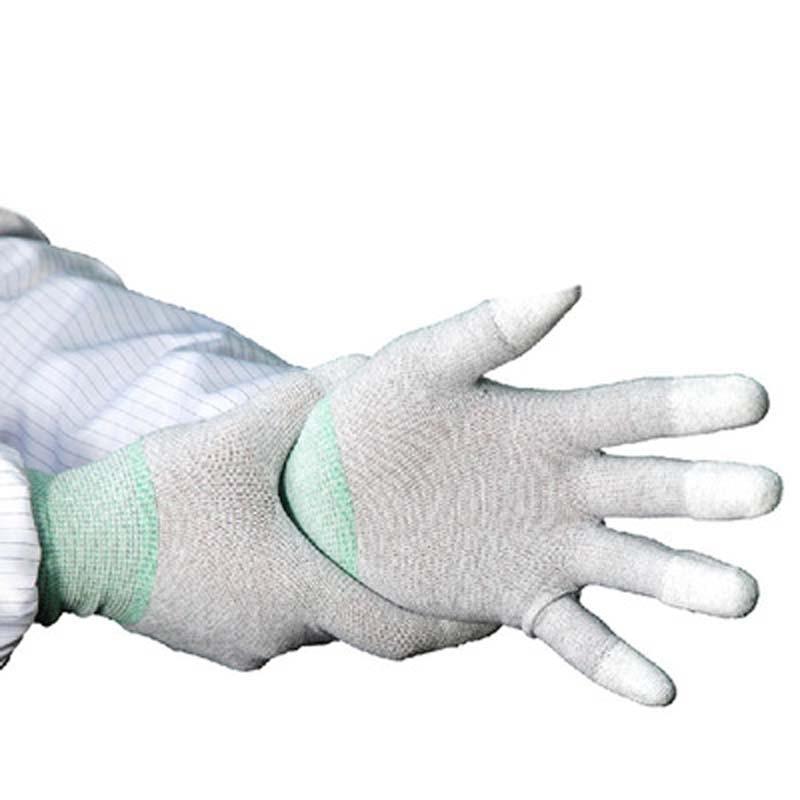 White Antistatic Dip Coated Finger Coated Protective Nylon Gloves
