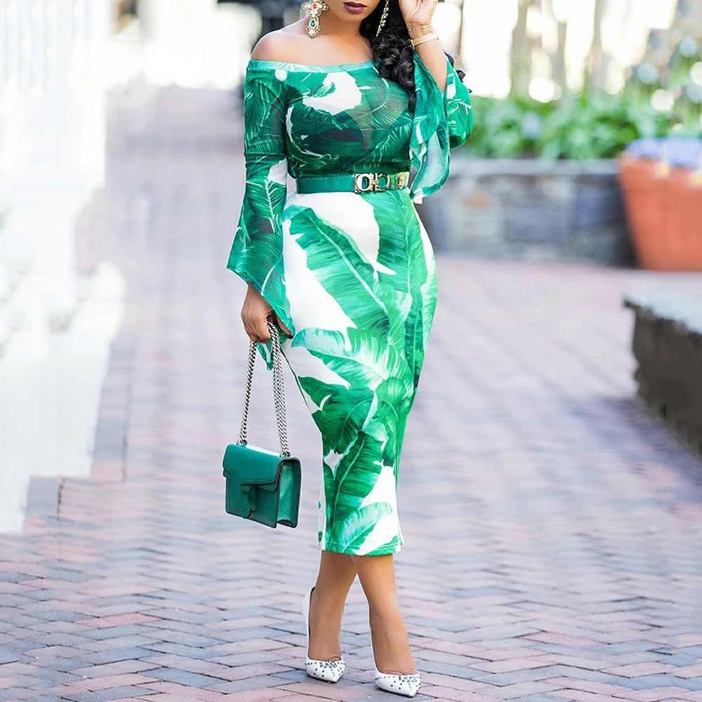 Тропический Принт Прозрачное платье с длинным рукавом и открытыми плечами осеннее женское сексуальное прозрачное облегающее вечернее платье миди 2019