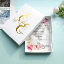 Envío Gratis 2019 gran oferta impresión personalizada con fotos de pareja Tarjeta de invitación de boda acrílica transparente, tarjeta de menú