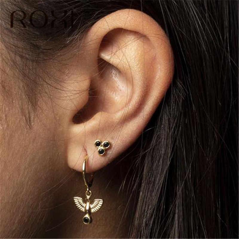 ROXI แฟชั่นผู้หญิงเกาหลีต่างหู 925 เงินสเตอร์ลิง Pigeon จี้ต่างหูสำหรับผู้หญิง Brincos ของขวัญสัตว์ขนาดเล็กต่างหู