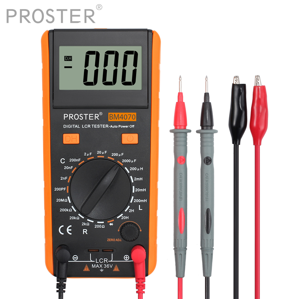 Proster LCR Meter With Overrange Display Capacitance Inductance Resistance Multimeter Self-discharge Tester Measuring Meter