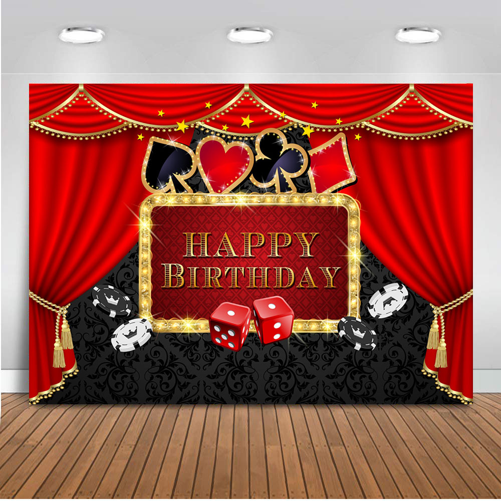Casino Birthday Party Backdrop Poker Las Vegas Theme Party Background Casino Night Photography Background for photo booth studio(China)