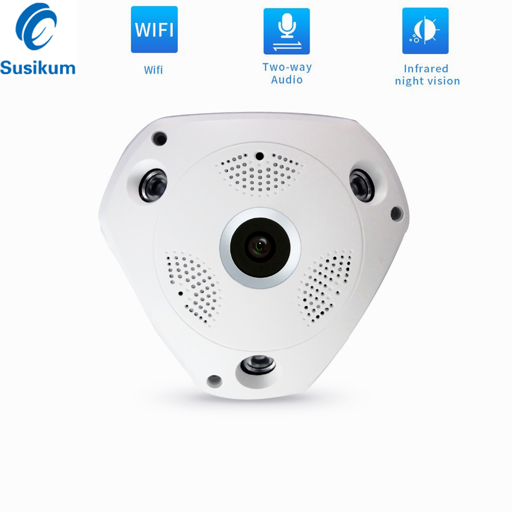 1.3MP Fisheye Wifi Camera Indoor Two ways AUDIO 1.56mm Lens 360 Degree Panoramic VR Wireless Camera 360Eyes APP