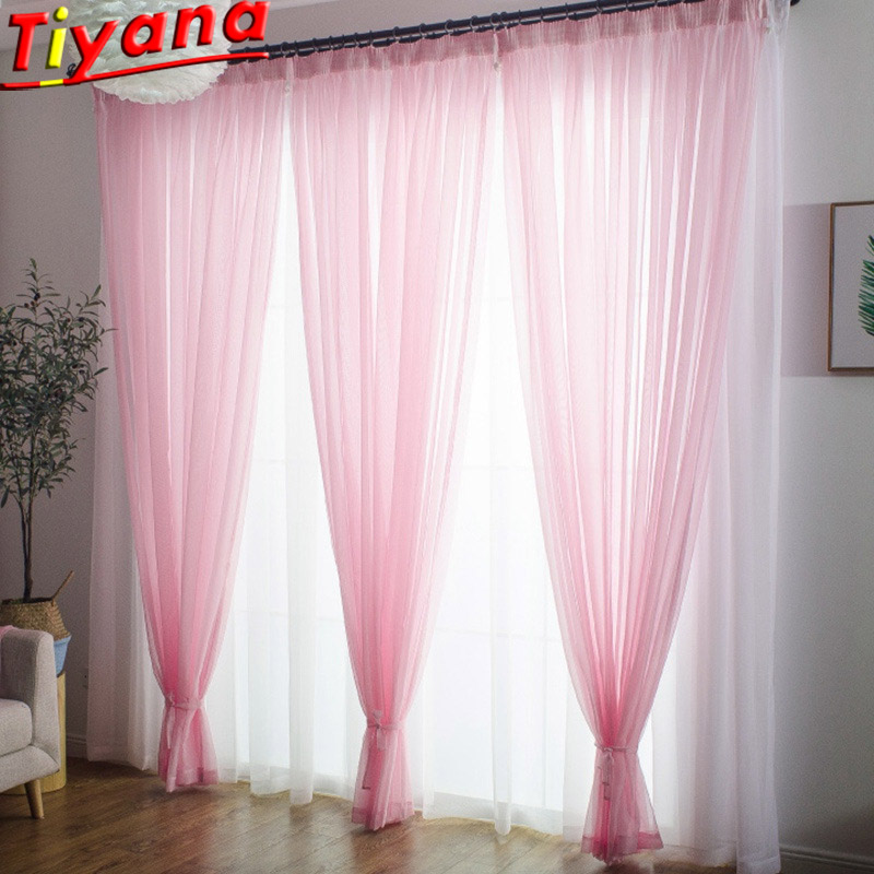 White/Blue/Yellow/Pink Solid Tulle Voile For Living Room White Solid Tulle Yellow Panel Pink Window Drape Church CurtainWP184#50
