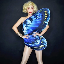 Dancer Costume Outfit Stage-Wear Wings Bodysuit Women Performance Singer Party Female