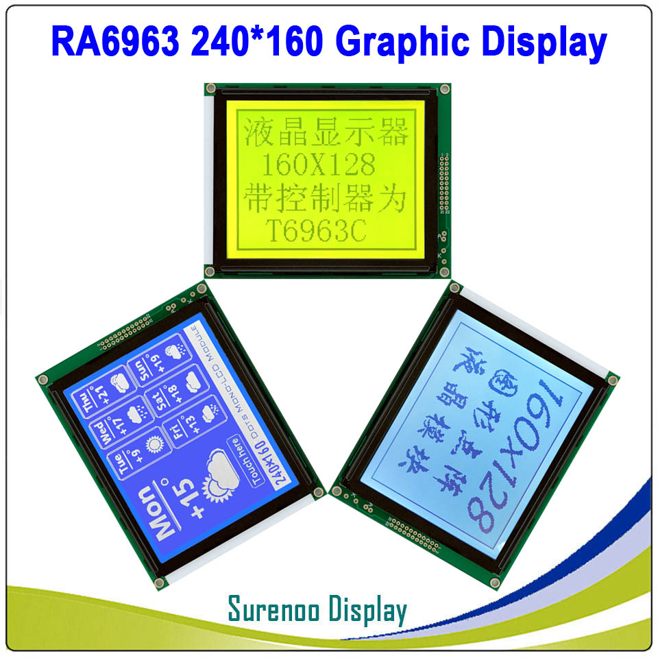240160 240*160 Graphic Matrix LCD Module Display Screen Build-in RA6963 Controller Yellow Blue With Backlight