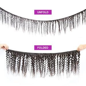 Image 2 - 36 40 אינץ מתולתל חבילות עם סגירת עמוק גל ברזילאי שיער Weave חבילות עם סגירת כפול נמשך רמי שיער טבעי