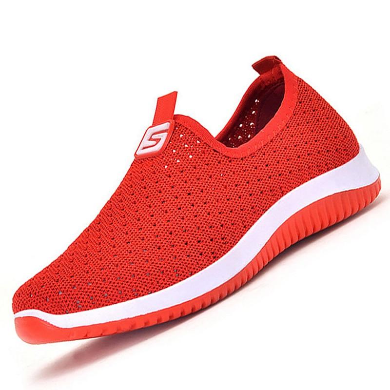 2020 New Plus Size Breathable Mesh Women Sneakers Slip On Knitting Summer Women Soft Walking Shoes Sneakers Women Cheap