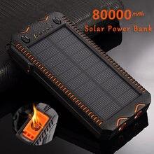 80000mah banco de energia solar de alta capacidade de carregamento do telefone power bank com isqueiro duplo usb carregador de emergência ao ar livre
