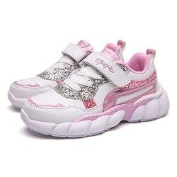 ULKNN dziecięce wodoodporne skórzane buty dla dziewczynek 28-37 dziecięce obuwie duże chłopięce buty do biegania różowe zielone białe trampki