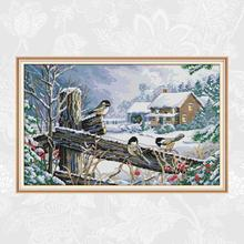 Bird On the Fence Cross Stitch kits Ecological Cotton Aida Fabric 14CT 11CT DIY Handmade Crafts New Store Sales Promotion