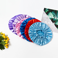 New Silk Ladies Waterproof Double-layer Shower Cap Shampoo Hair Care Super Soft Fabric Bath And Dry Hair Oil-proof Shower Cap