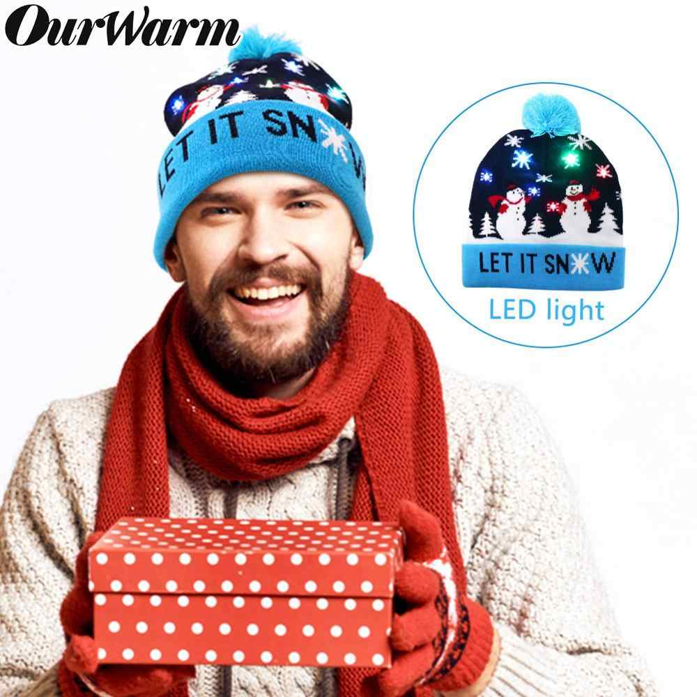 OurWarm LED Beanie Christmas Hat for Kids Adult Light Up Christmas Hat Beanie Ugly LED Knitted Hat Christmas Party Decorations