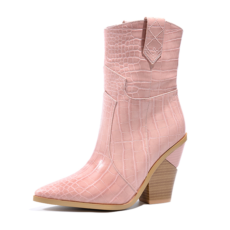 Fashion Embossed PU Leather Shoes Ankle Boots for Women Pointed Toe Western Cowboy Boots Women High Heels Wedges Runway Boots