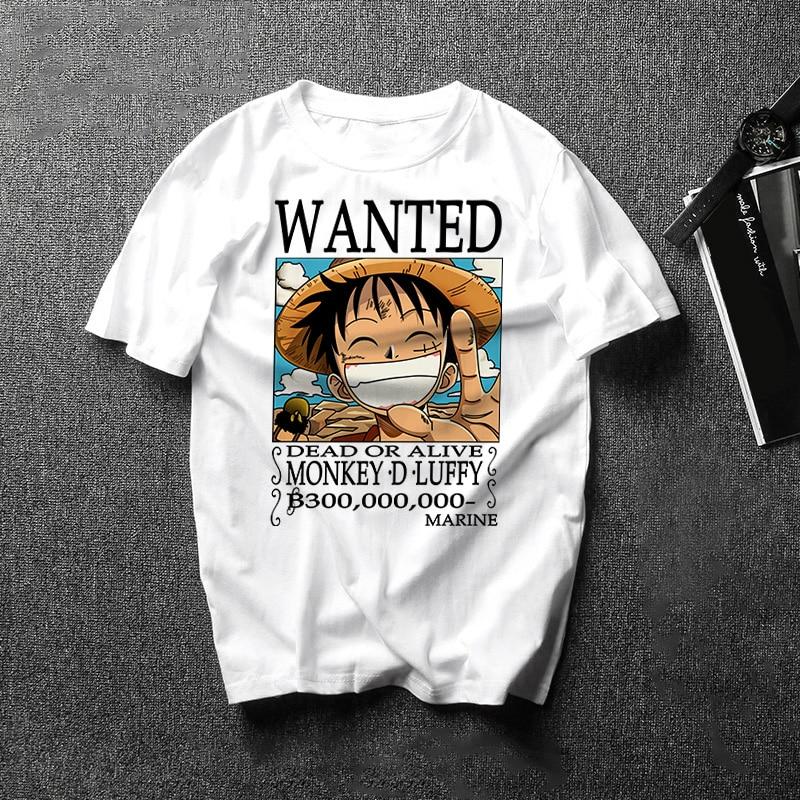 2019 Summer New Japan Anime One Piece Luffy Zoro T Shirt Male One Piece White O-Neck Cartoon Tee Tops Men/Women Harajuku Clothes