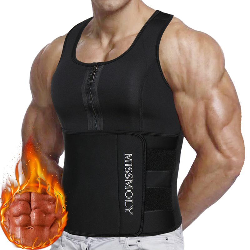Mens Waist Trainer Vest Slimming Body Shaper Compression Shirt Workout Tank Top Shapewear Fitness Undershirt Fat Burn Sauna Suit