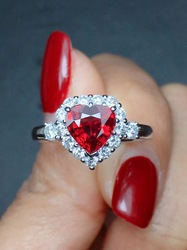 Garnet kırmızı kişilik yakut kırmızı renk zirkon 925 gümüş yüzük aşk kalp romantik parmak yüzük kadınlar için düğün takısı Bague
