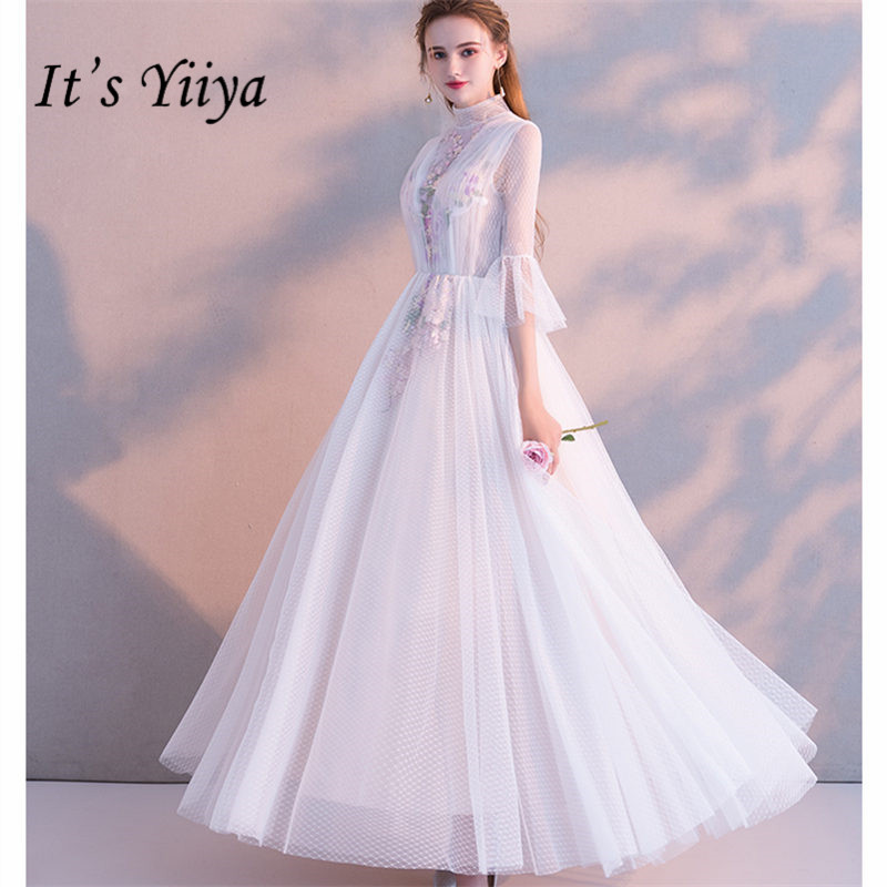 It's Yiiya Evening Dress Elegant Plus Size A-Line Women Party Dresses Flare Sleeve White Print Appliques Robe De Soiree E903
