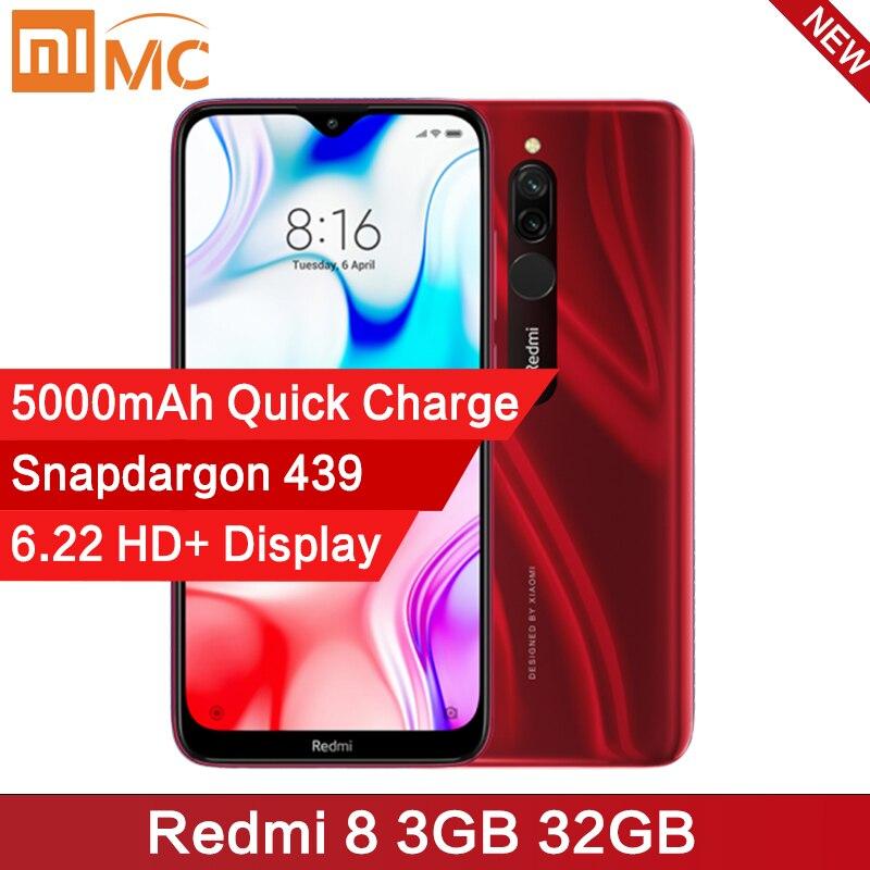 Global Version Xiaomi Redmi 8 3GB 32GB Snapdragon 439 Octa Core 12MP AI Camera Mobile Phone 5000mAh Quick Charge CE Cellphone