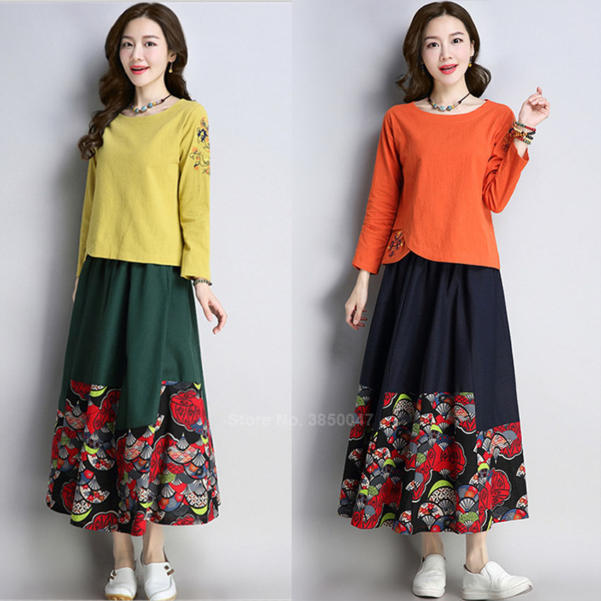 Cotton Linen Traditional Chinese Vintage Cheongsam Tops Embroidery Women O-neck Loose Style Clothing Retro Skirt Outfits