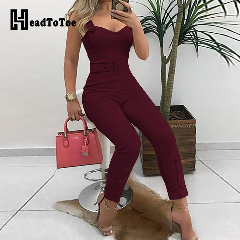 2019 Women's Thin Strap Button Design Jumpsuit Office Lady Skinny Jumpsuits