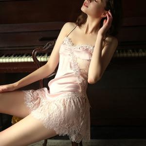 Image 1 - Womens Sexy Lace Sling Sleeping Wear Beauty Back Seduction Nightgowns Female Summer Ice Silk Night Dress Temptation Nightdress