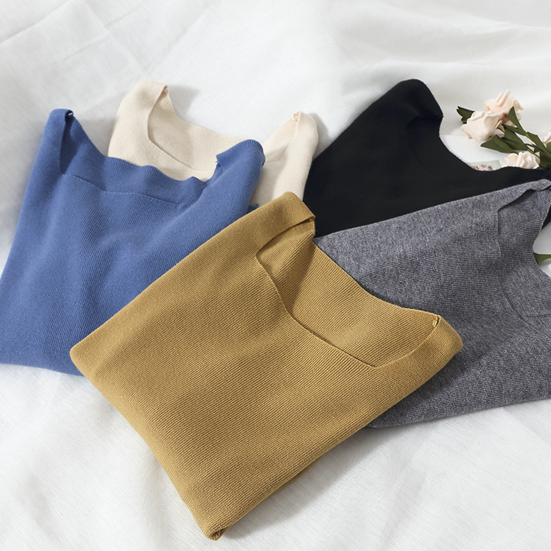 HeliarButtons Knitted Preppy Style Spring Underwear Sweater Female Square Neck Long Sleeve Sweater Sweater Women 2020 Spring
