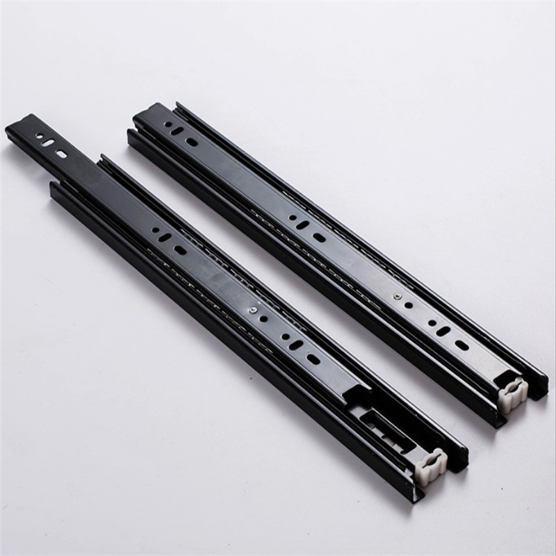 3 Section Sliding Rails For Drawers Full Extension Side Mount Runner Damping Buffer Cabinet Rails With 10 Screw (1 Pair)