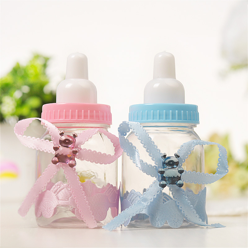 Transparent Plastic Feeder Bottle Candy Box Cute Blue/pink Wedding Birthday Baby Shower Cake Topper Party Supplies