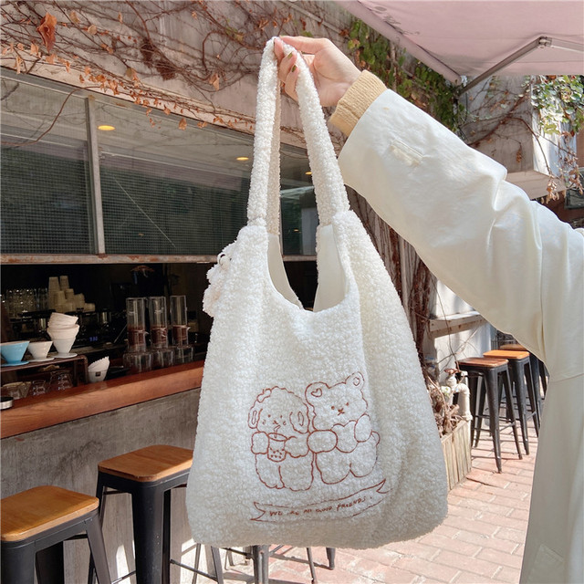 Hylhexyr Women Soft Plush Tote Simple Warm Cloth Shopper Bags Embroidery Bear Handbag  Eco Shoulder Bag Purses For Girls 5