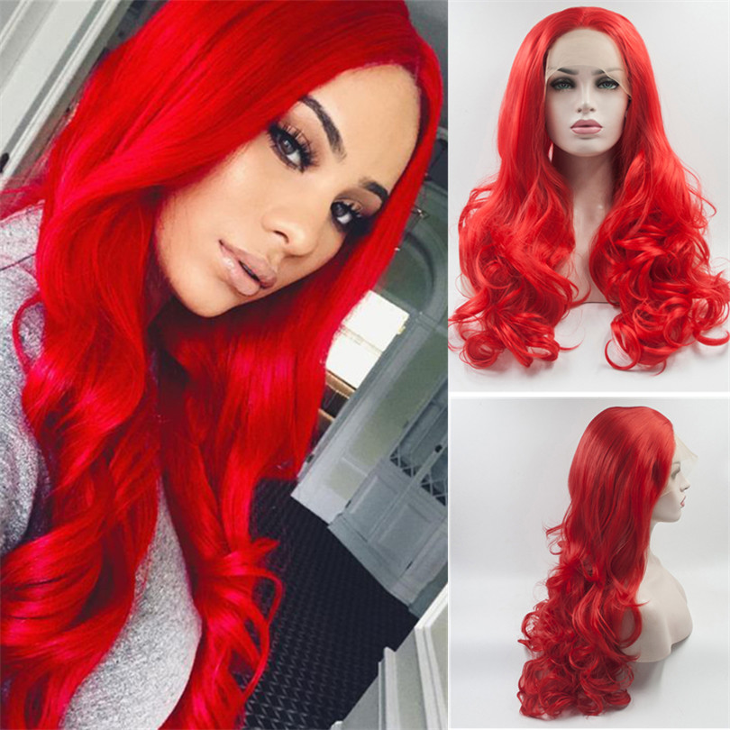 Light Red Synthetic Body Wave Wigs Lace Front Wigs Natural Hairline Glueless Wigs For Women Synthetic Wig With Baby Hair