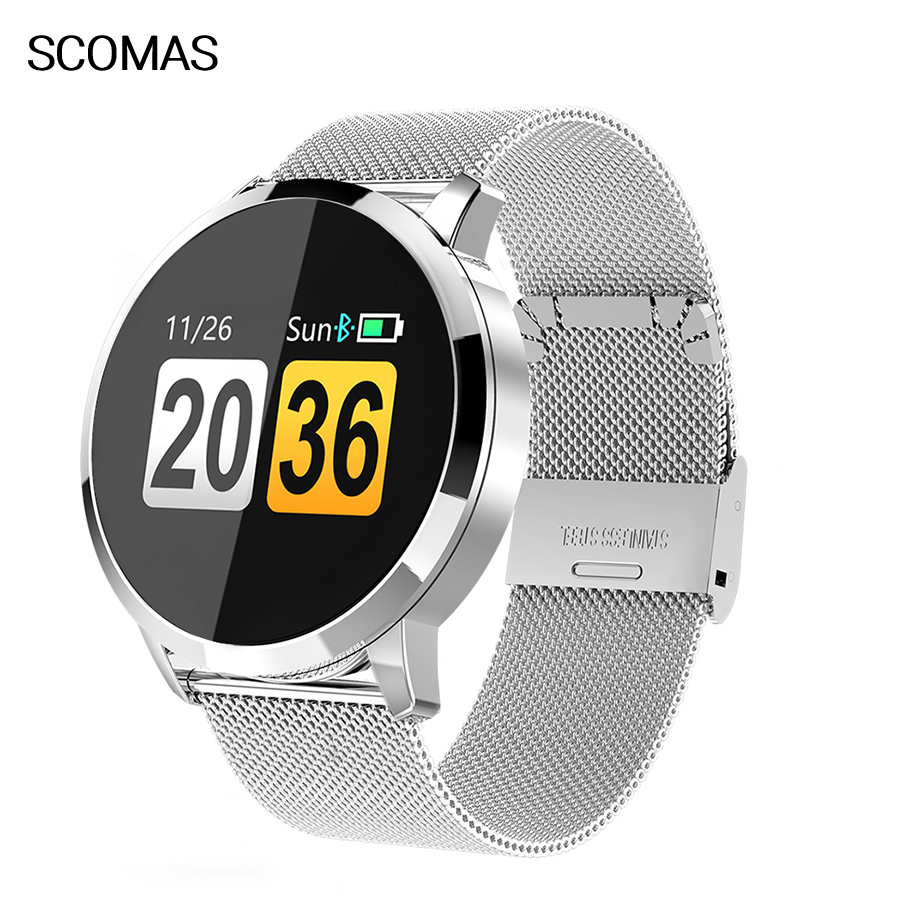 SCOMAS Fashion Men Smart Watch <font><b>OLED</b></font> Color Screen Fitnes Tracker Heart Rate Blood Pressure Monitor Smartwatch For iOS Android image