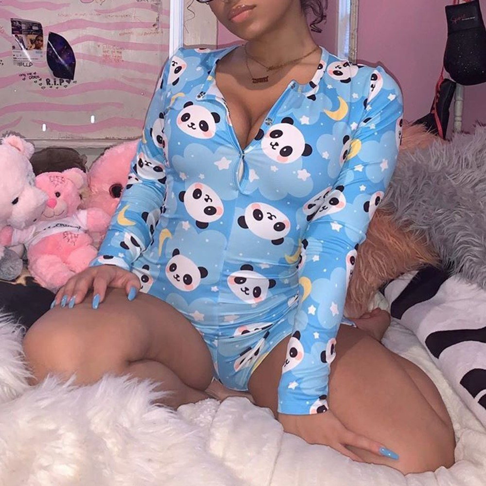 2020 Hot Sale Women Sexy Stretchy Pajamas Long Sleeve V Neck Pineapple Star Heart Printed Bodycon Summer Lady Jumpsuit Romper