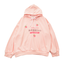 Graphic Sweatshirt Thin Hoodie Cute Clothes Streetwear Strawberry Milk Harajuku Kawaii