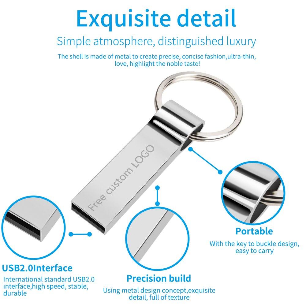 Hot metal pendrive 128GB 64GB usb flash drive 32GB 16GB Key pen drive 8GB flash memory stick cle usb 2 0 u disk Free print LOGO in USB Flash Drives from Computer Office